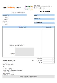 Tax Invoice for Printing Shop