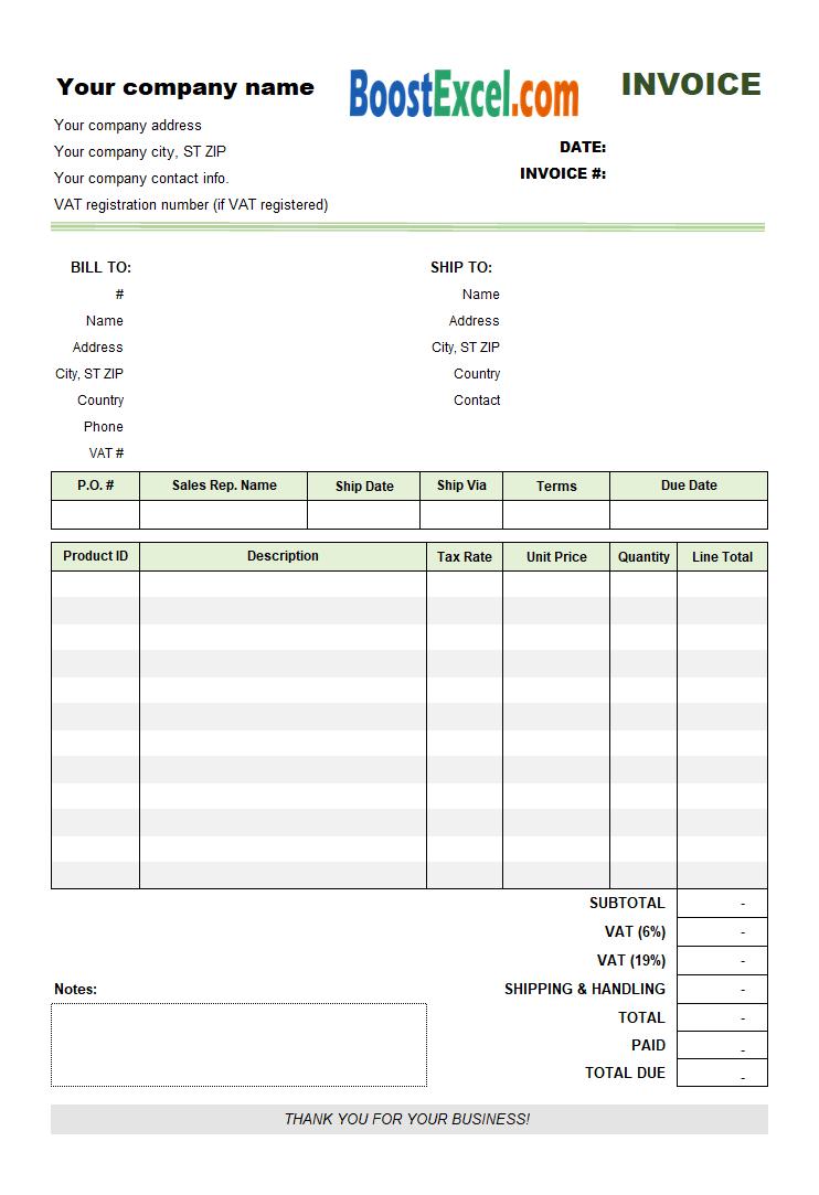 vat invoice template uk