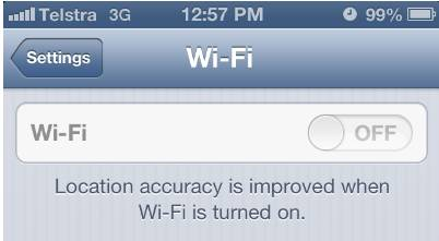 Grey WI-Fi setting on iPhone