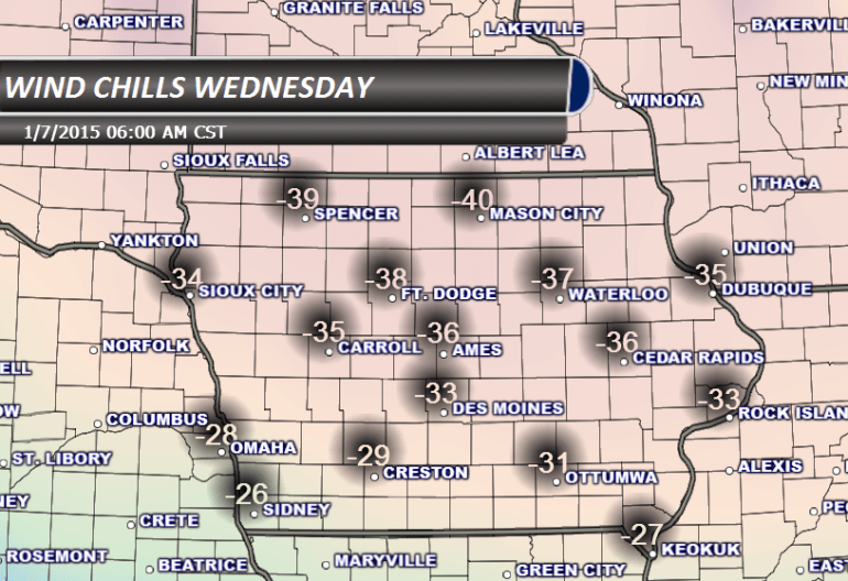Wind Chills Wednesday