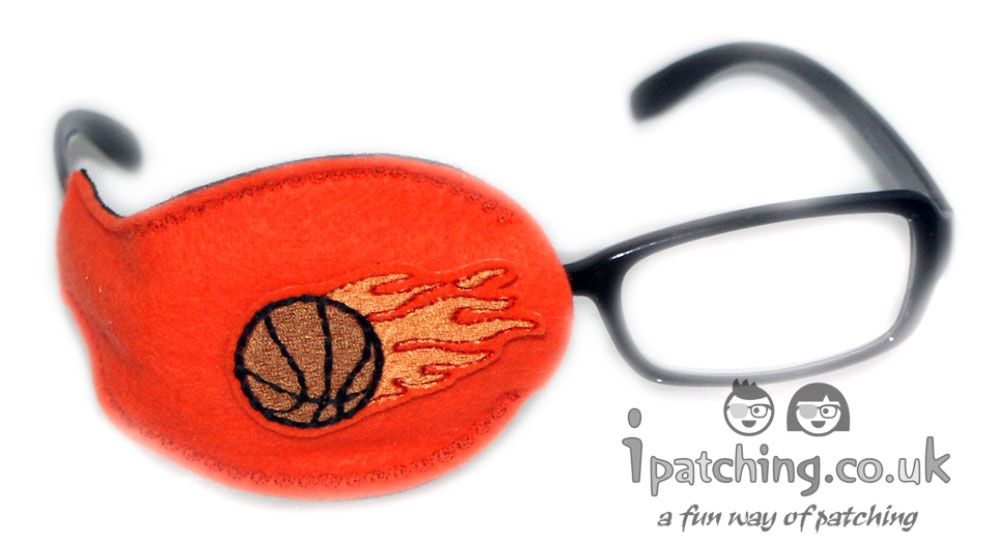 Basketball_on_Orrange_Plastic_Frame_Orthoptic_Eye_Patch
