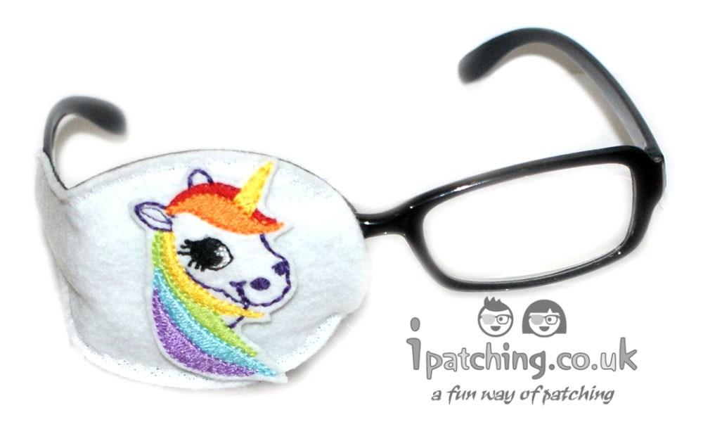 White_Unicorn_On_White_Plastic_Frame_Orthoptic_Eye_Patch