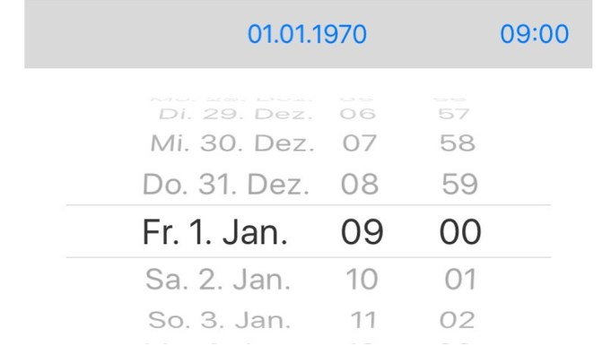 1. Januar 1970 Bug iOS iPhone