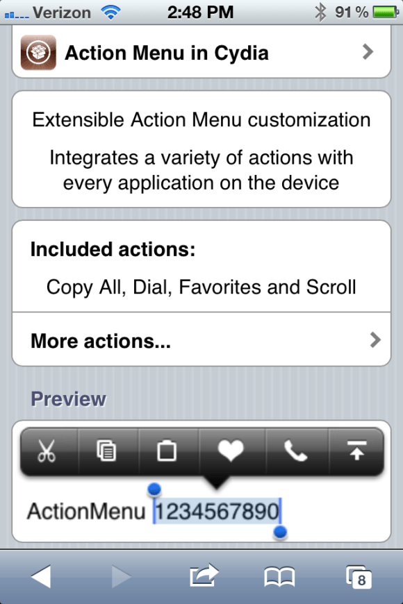action menu Cydia Tweak Reviews