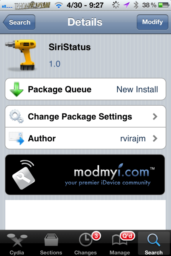siristatus Watch Siri Function or Think?? SiriStatus Cydia Tweak