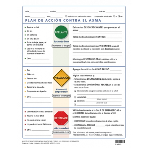 Asthma Action Plan - two part form - Spanish