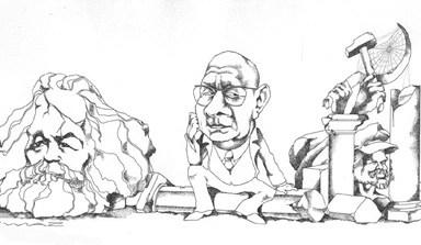 """Illustration de l'article de Jacques Julliard. """"La Fusée Castoriadis"""" paru dans Le Nouvel Observateur du 26 janvier 1976"""