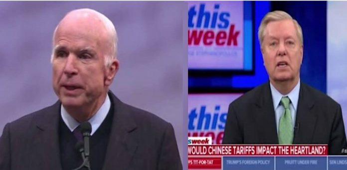 مک کین و لیندز گراهام ستناتور های برجسته آمریکا