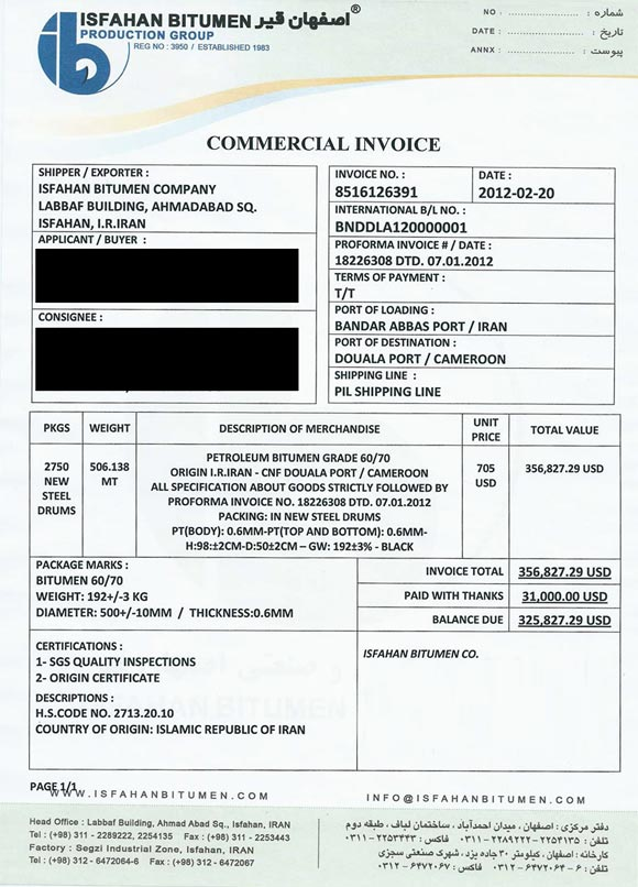 Commercial InvoiceContracts Terms  Documents - invoice documents