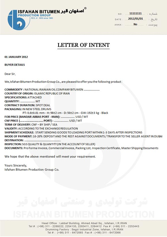 Letter of IntentContracts Terms  Documents
