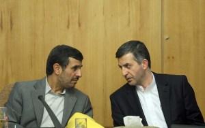 President Mahmoud Ahmadinejad talks with Rahim Mashaee during a meeting of Cabinet. (Photo Credit: Dolat.ir)