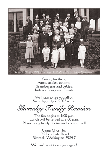 Family Reunion Invitation, Style fr-s1d - family gathering invitation wording