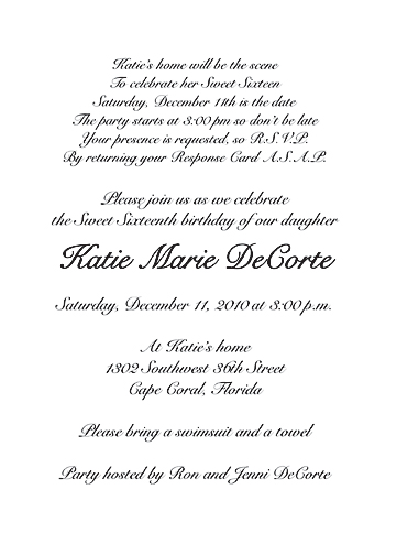Sweet Sixteen Invitation Wording \u2013 orderecigsjuiceinfo - posh invitation wording