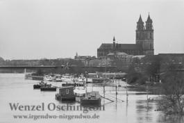 Hochwasser am Petriförder  |  Magdeburg 1989