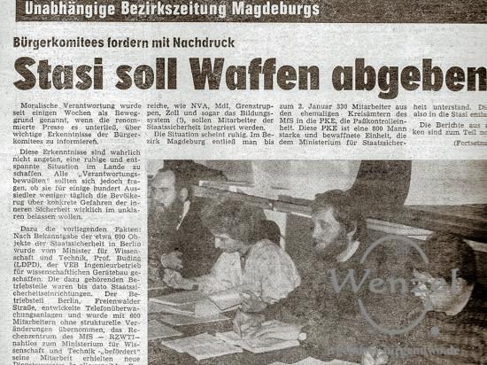 Stasi soll Waffen abgeben - DAZ - 31. Januar 1990