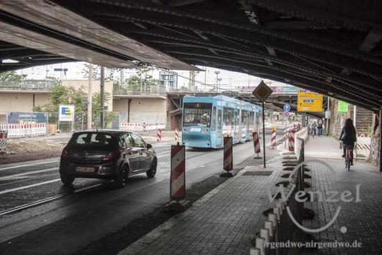 Baustelle City-Tunnel  –  Unterführung ist nur einseitig befahrbar