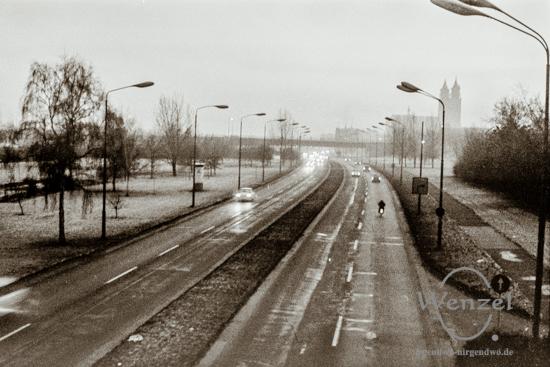 Schleinufer – Blick von der Brücke am Petriförder