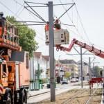 Umgeschaut – MVB Baustelle für neue Tram-Trasse an der Leipziger Strasse