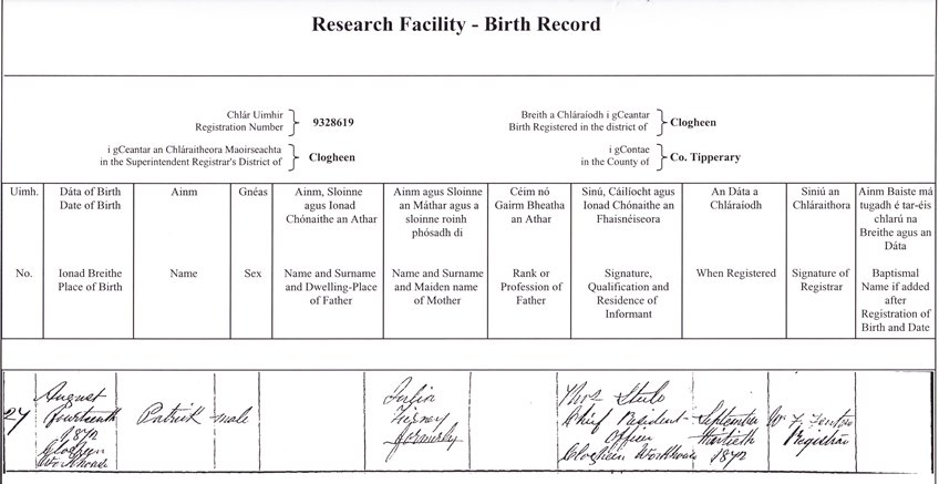 Ireland birth records - how to find them and obtain copy - sample birth certificate template