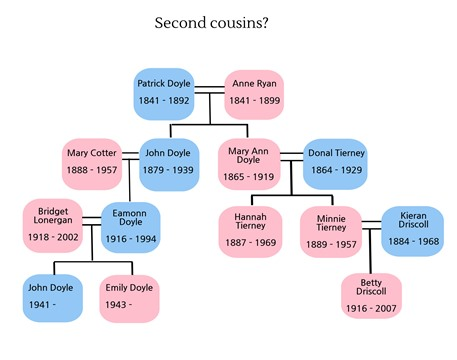 This family history chart explains 2nd cousins, 1st cousins once