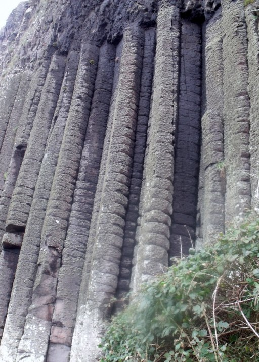Pillars of stone in causeway cliffs