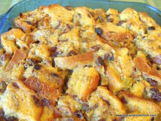 Cooked bread pudding out of the oven