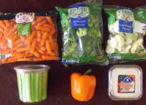 Green, white and orange veggies