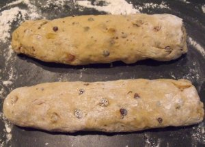 Hot Cross Bun Dough Formed Into Two Logs