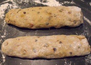 Hot Cross Bun Dough Formed Into Two Logs