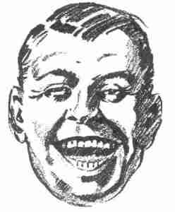 Vintage clipart - laughing man's face