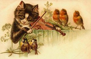 Image Of Cat Playing The Violin