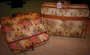 Two Suitcases - Tapestry Suitcases Of The 1980's