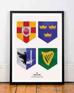 Irish artwork by Painted Clans - Four provinces of Ireland crests