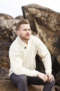 Irish Wool Sweater - Men's Merino Wool Shawl Collar ...