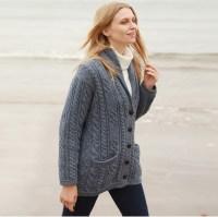 Irish Wool Sweater - Ladies Multi Cable Shawl Cardigan at ...