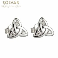 Celtic Earrings - 14k White Gold Trinity Knot Diamond ...