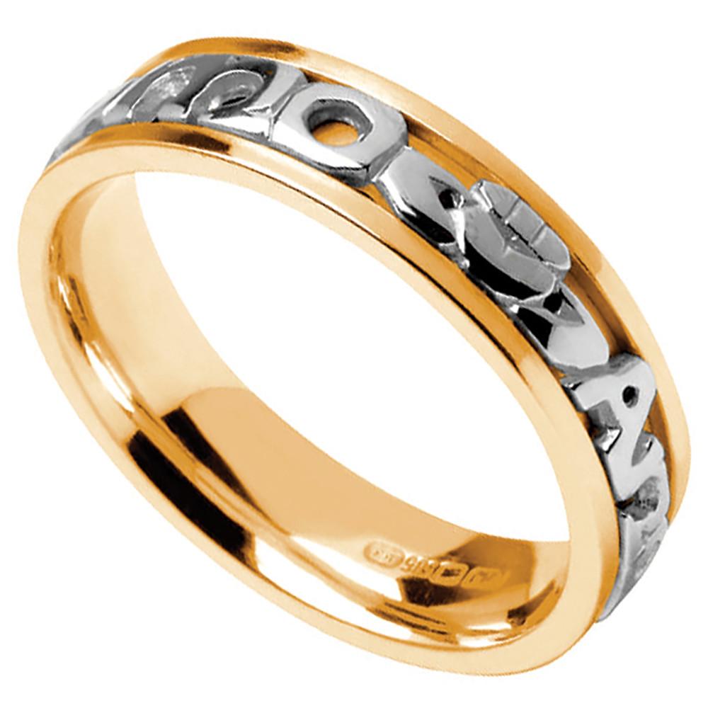 irish wedding rings bands celtic wedding rings irish wedding rings Mo Anam Cara Ring Men s Yellow Gold with White Text Mo Anam Cara My Soul Mate Irish Wedding Ring