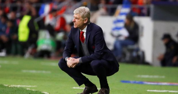 Arsene Wenger during his team's defeat in the Europa League in Madrid on Thursday night. Phtoograph: PA