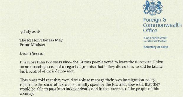 The dream is dying\u0027 Boris Johnson\u0027s resignation letter in full