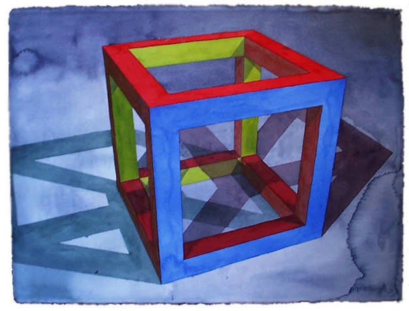 Still Life 3d Wallpaper Ronald Davis Open Cube 1995