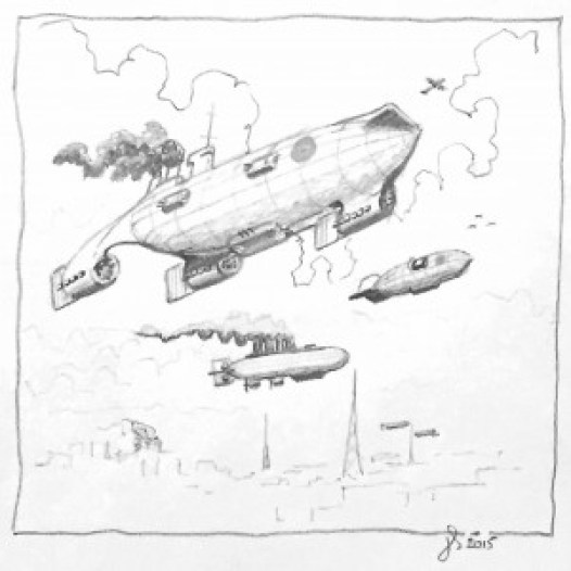 HMA Enterprise launching DH9a combat air patrol over the Ironopolis City Airship Towers