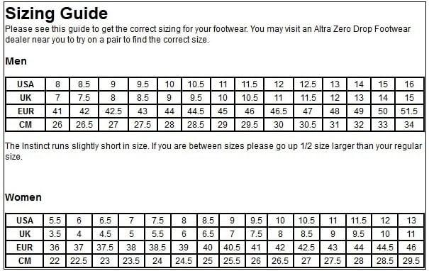 Altra Shoe Size Chart \u2013 iRunFar