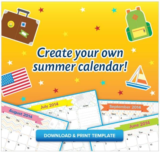FREE Printable Kid\u0027s Summer Calendar! Just for them to fill out! - kids calendar template