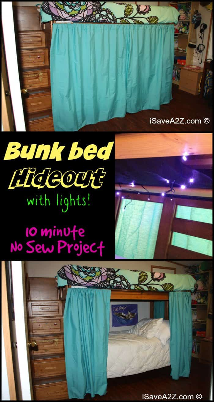 Bunk bed hideout made with no sew curtains and with lights