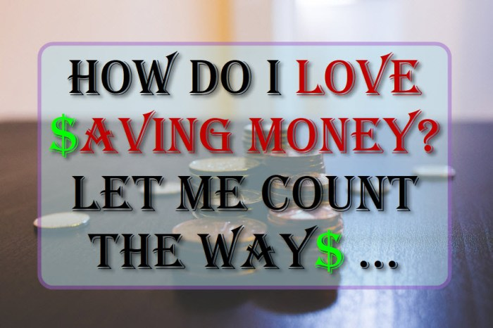 How do I love saving money? Let me count the ways