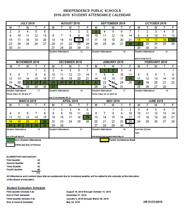 ISD Updated Student Attendance Calendar 2018-2019 - Independence