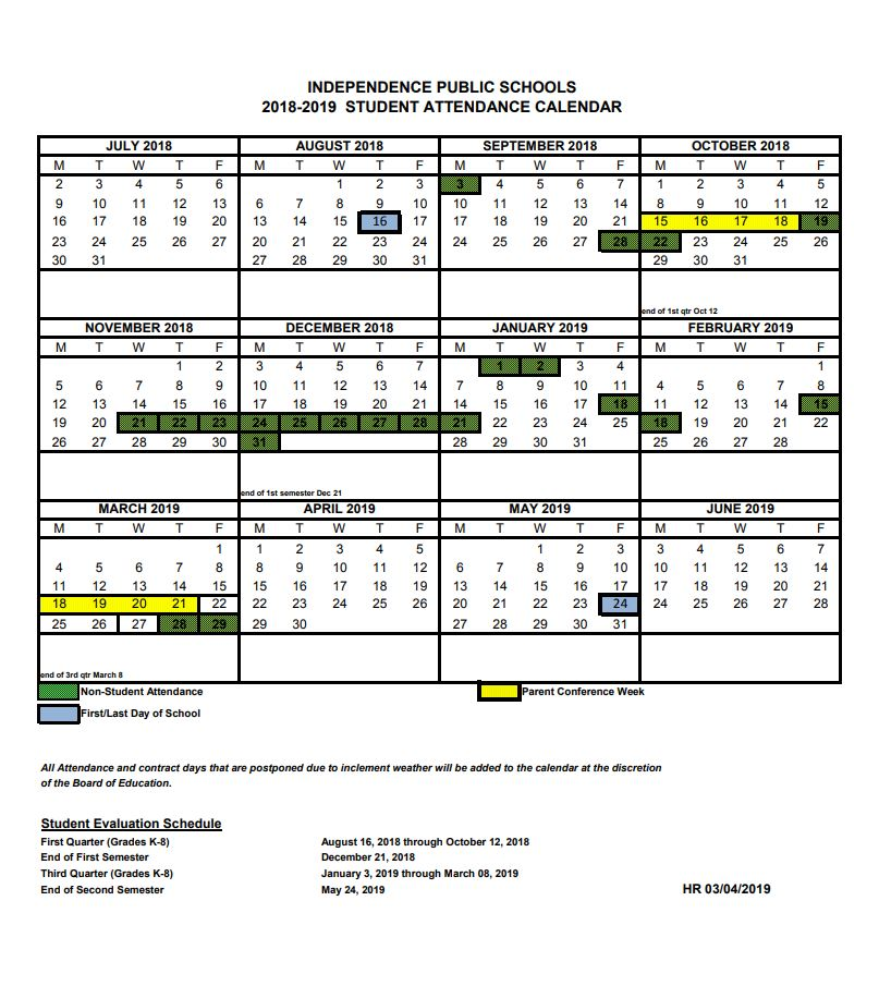Student Calendar 2018-2019 - Independence School District