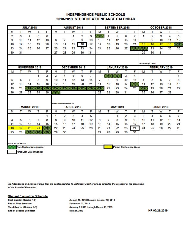 ISD Updated Student Calendar 2018-2019 - Independence School District
