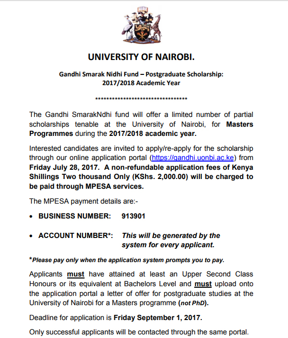 Gandhi Smarak Nidhi Fund Postgraduate Scholarship at University of