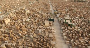 Wadi Al-Salaam is an Islamic cemetery, located in the Shia holy city of Najaf, Iraq. It is the largest cemetery in the world.